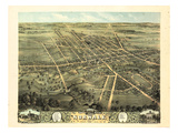 1870, Norwalk Bird's Eye View, Ohio, United States Giclee Print