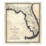 1823, Florida State Map, Florida, United States Reproduction procédé giclée