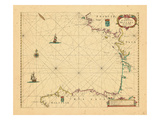 1672, A chart of the Bay of Biscane Giclee Print