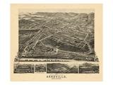 1891, Asheville Bird's Eye View, North Carolina, United States Giclee Print