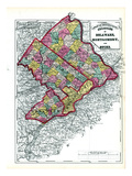 1872, Delaware, Montgomery, Bucks Counties, Pennsylvania, United States Giclee Print