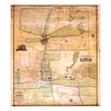 1851, Augusta Wall Map, Maine, United States Giclee Print