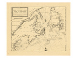 1703, A Chart of the Coast of/NEW FOUND LAND/NEW SCOTLAND/and NEW ENGLAND Giclee Print