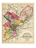 1872, Philadelphia County and City Outline Map, Pennsylvania, United States Giclee Print