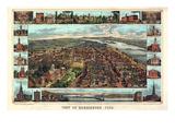 1855, Harrisburg Bird's Eye View, Pennsylvania, United States Giclee Print