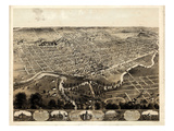 1868, Fort Wayne Bird's Eye View, Indiana, United States Giclee Print