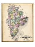 1884, York County Map, Maine, United States Giclee Print