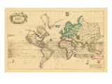 1708, World, Mercator Projection Giclee Print