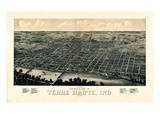1880, Terre Haute Bird's Eye View, Indiana, United States Giclee Print