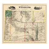 1883, Wyoming 1883 State Map, Wyoming, United States Giclee Print