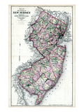 1873, New Jersey State Map, New Jersey, United States Giclee Print