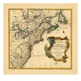 1755, antike Landkarte von Connecticut, Georgia, Maine, Maryland, Massachusetts, New Brunswick, New Jersey, New York, Nordamerika, USA Giclée-Druck
