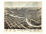 1874, South Bend Bird's Eye View, Indiana, United States Giclee Print