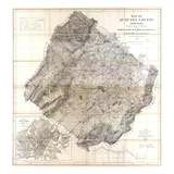 1870, Augusta County Wall Map, Virginia, United States Giclee Print