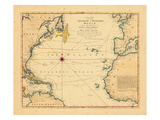 1762, Atlantic Ocean, Chart, Africa, Europe, North America, South America Giclee Print