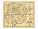 1829, Portugal, Spain Giclee Print