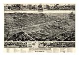 1885, Birmingham Bird's Eye View, Alabama, United States Giclée-Druck