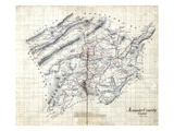 186X, Roanoke County Wall Map, Virginia, United States Giclee Print