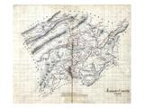 186X, Roanoke County Wall Map, Virginia, United States Giclee Print
