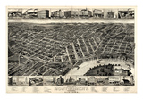 1887, Montgomery Bird's Eye View, Alabama, United States Giclée-Druck