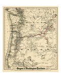 1880, Oregon and Washington State Map, Oregon, United States Giclee Print