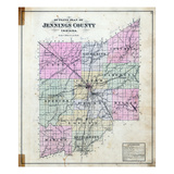 1884, Jennings County Outline Map, Indiana, United States Giclee Print
