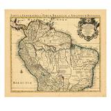 1730, antike Landkarte von Brasilien, Südamerika Giclée-Druck