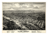 1876, Salem Bird's Eye View, Oregon, United States Giclee Print