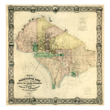 1857, Washington D.C. Wall Map, District of Columbia, United States Giclee Print