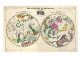 1835, Geography of the Heavens, Northern - Southern Gicléetryck