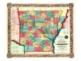 1854, Arkansas State Map, Arkansas, United States Giclee Print