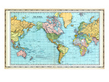 1906, World Map Giclee Print
