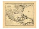 1719, antike Landkarte von Mexiko, Karibik, Vereinigte Staaten, USA, Karibische Inseln, Zentralamerika, Nordamerika Giclée-Druck