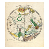 1835, Circumpolar Map Southern,Constellations Giclee Print