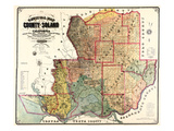 1890, Solano County Wall Map, California, United States Giclee Print
