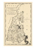 1794, New Hampshire State Map, New Hampshire, United States Giclee Print