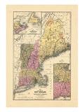 1844, Landkarte von New England, Connecticut, Maine, Massachusetts, New Hampshire, Rhode Island, Vermont Giclée-Druck