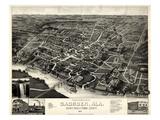 1887, Gadsden Bird's Eye View, Alabama, United States Giclee Print