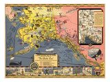 1934, Alaska State Map from Steamship Line, Alaska, United States Giclee Print