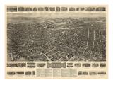 1917, Waterbury Aero View, Connecticut, United States Giclee Print