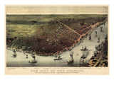 1885, New Orleans Bird's Eye View, Louisiana, United States Giclee Print