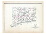 1893, Connecticut Map Showing Towns, Counties and Congressional Districts, Connecticut Giclee Print