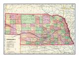 1907, State Map, Nebraska, United States Giclée-Druck