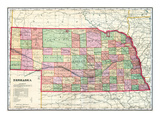 1907, State Map, Nebraska, United States Giclee Print