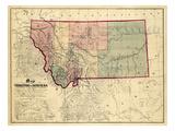 1865, Montana Wall Map, Montana, United States Giclee Print