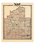 1876, Christian County Map, Illinois, United States Giclee Print