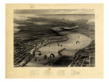 1863, New Orleans Bird's Eye View, Louisiana, United States Giclee Print