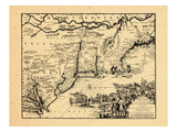 1714, Connecticut, Maine, Massachusetts, New Hampshire, Rhode Island, Vermont, New Jersey, New York Giclee Print