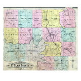 1905, St. Clair County Outline Map, Missouri, United States Giclee Print