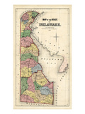 1868, Delaware State Map, Delaware, United States Giclee Print